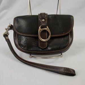 Dooney & Bourke Leather Wristlet/Black/Brown (577)